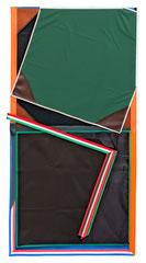 MJB (Italy), 2018, Öl und Bänder auf Leinwand, 190 x 100 cm