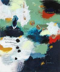 VERBINDUNGEN SPÜREN, 2016, Acryl, Bleistift, Buntstift, Kohle, Pastell, Papier und Stoff auf Leinwand, 175 x 145 x 4 cm