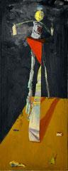 JETLEGGED, 2016, Öl und Pigmente auf Leinwandcollage, 100 x 40 cm