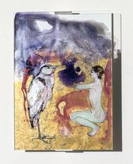 FISCHERÜBUNG, 2019, Hinterglaszeichnung, Tusche, Nagellacke, diverse Lacke, 20,8 x 29,8 cm