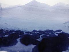 """Flip, aus der Serie """"Überunter den Maulwurfshügeln"""", Tusche auf Papier, 2018"""