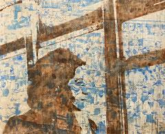 Alabama, 2021, Aquarell, Tusche und Acryl auf Leinwand, 95 x 115 cm