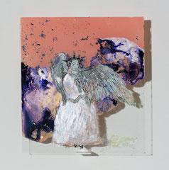 ENTFLOGENE 2019 Hinterglaszeichnung, Tusche, Nagellacke, diverse Lacke  34 x 30,6 cm