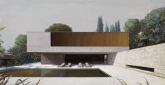 MODERN HOUSE Nr.35, 2020, Öl auf Leinwand, 145 x 280 cm