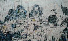 Daheim ist am schönsten, 2020,  Aquarell und Tusche auf Landkarte auf Holz, 60 x 100 cm