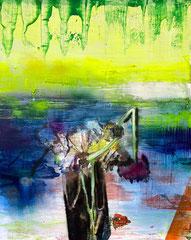 MIT BLÜTEN SCHEINT, DEM ZEICHEN FROHER TAGE (FLOWERS_1)  2021 Öl und Acryl auf Leinwand 100 x 80 cm