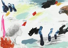 TWO TALKING, 2015, Mischtechnik auf Papier, 30 x 42 cm