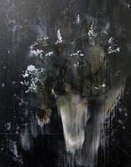 DER TRAUM (ENSTEHUNG DER NACHT), 2015, Acryl, Öl und Faden auf Leinwand, 150 x 120 cm