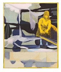 Gefühlte Wahrheit, 2019, gefaltete Leinwand, Öl, 60 x 50 cm
