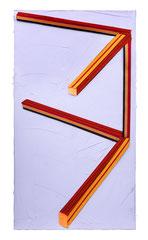 REDSTICKS, 2017, Öl und Stoff auf Leinwand, 180 x 100 cm