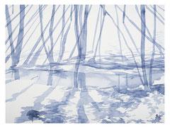 O. T. (wald I), 2016, Tusche auf Papier, 42 x 56 cm