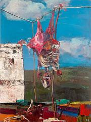 STILLLEBEN MIT GOLDZAHN,  2015, Öl und Pigmente auf Leinwandcollage, 200 x 150 cm