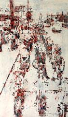 WOANDERS IST AUCH SCHÖN – DETROIT 1960, 2018, Aquarell, Tusche, Acryl und Rost auf Nessel, 170 x 100 cm