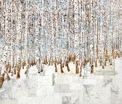 UNGEFÄHR HIER, 2021,  Aquarell, Tusche und Acryl auf Leinwand, 120 x 140 cm