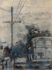 WOANDERS IST AUCH SCHÖN, 2017, Aquarell, Tusche und Acryl auf Nessel, 58 x 44 cm