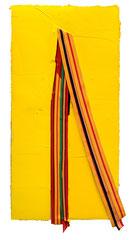 ROBBINS RIBBONS, 2017, Öl und Stoff auf Leinwand, 140 x 70 cm