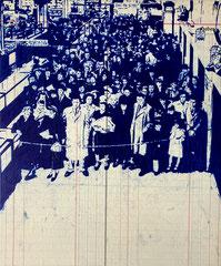 Samstag, 2021, Kugelschreiber auf Seekarte auf Holz, 30 x 25 cm