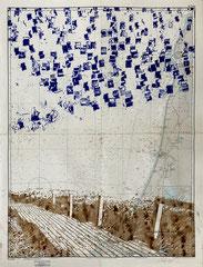 Espresso auf Texel, 2021, Kugelschreiber und Kaffee auf Seekarte, 108x82 cm