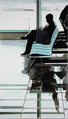 LE DEPART 2020 Acryl und Öl auf Leinwand 190 x 110 cm