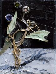 CRACKIN' CONCRETE, 2017, Öl, Pigmente und Tubendeckel auf Leinwandcollage, 24 x 18 cm