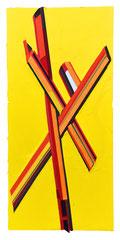 Yellow X, 2018, Öl und Bänder auf Leinwand, 190 x 100 cm