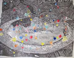 VOGELBAD  2012 Chinatusche, Tempera auf Zeichenkarton 88 x 120 cm