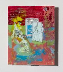 SCHAUSPIELPROBE, 2018, Hinterglaszeichnung, Tusche, Nagellacke, diverse Lacke, 30,5 x 24cm