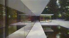 Modern house, Nr. 36 / Terrasse, 2021, Öl auf Leinwand v110 x 200cm, verkauft