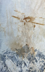 WOANDERS IST AUCH SCHÖN, 2021, Aquarell, Kaffee und Acryl auf Leinwand, 100x70 cm