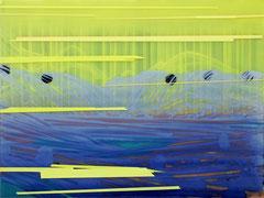 o.T. (muunsnsanns) 2019 Acryl und Tusche, vorder- und rückseitig auf Acrylglas montiert, auf Holz 60 x 80 cm
