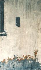 DAHEIM IST AM SCHÖNSTEN, 2018, Aquarell, Tusche, Acryl auf Nessel, 170 x 100 cm