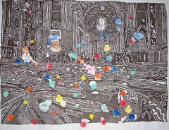 Peters Boden 2012 Chinatusche, Tempera auf Zeichenkarton 92 x 118 cm