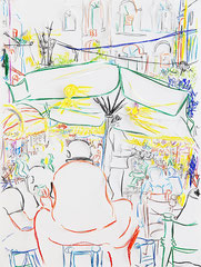 CAFESZENE I, 2016, Buntstift, Grafitstift, Papier, 80 x 60 cm