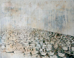 VANCOUVER 1941, 2017, Aquarell, Tusche, Rost und Acryl auf Nessel, 145 x 185 cm