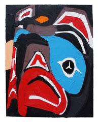 JAPANESE FISH PICASSO, 2016, Öl auf Leinwand, 120 x 90 cm