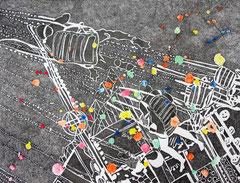 FERRAGOSTO LAVENO  2012 Tusche / Tempera auf Reispapier, auf Reispapier montiert 145 x  75 cm