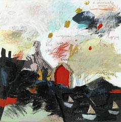 THE HOUSE SHE NEVER ENTERED, 2016, Acryl, Kohle, Buntstift, Bleistift, Pastell und Collage (Stoff, Pappe, Papier) auf Papier auf Aludibond,  90 x 90 cm