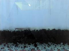 o.T. (grennh) 2020 Acryl und Tusche, vorder- und rückseitig auf Acrylglas montiert, auf Holz 60 x 80 cm