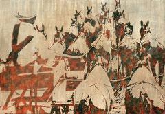 WOANDERS IST AUCH SCHÖN, Aquarell, Tusche, Acryl auf Nessel, 100 x 170 cm