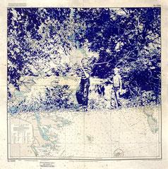 Woanders ist auch schön, 2021, Kugelschreiber auf Seekarte, 72,5 x 72 cm