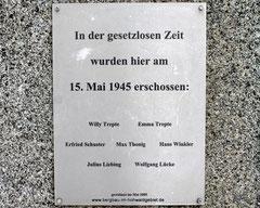 Innschrift auf dem Gedenkstein