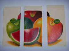 manzana tricolor con sandia beige