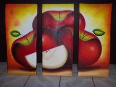 manzana roja fondo naranja