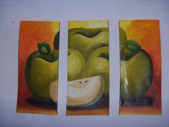 manzana verde fondo naranja