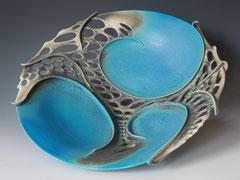 Large blue platter in stoneware