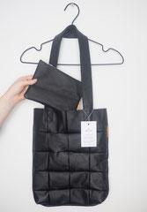 leren shopping bag zwart