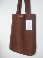 bruine leren shopping bag