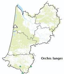 carte distribution Orchis langei - Orchis de Lange