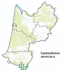 carte distribution Gymnadenia austriaca - Nigritelle d'Autriche