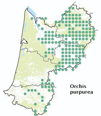 carte distribution Orchis purpurea - Orchis pourpre